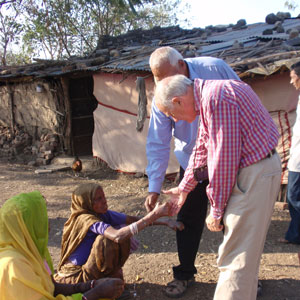 Dr. Chris meets one of the participants in his leprosy ulcer clinical trial in Indore, India
